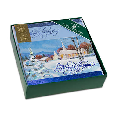 hallmark deluxe elegant boxed christmas cards snowy church
