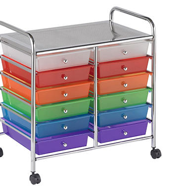 ECR4Kids Mobile Organizer, Assorted Colors - 12 Drawers