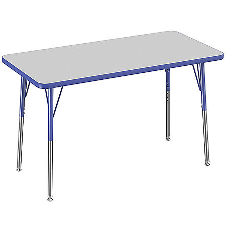"24"" x 48"" Rectangle T-Mold Adjustable Activity Table with Standard Swivel (Assorted Colors)"