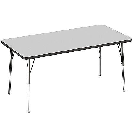"30"" x 60"" Rectangle T-Mold Adjustable Activity Table with Standard Swivel (Assorted Colors)"