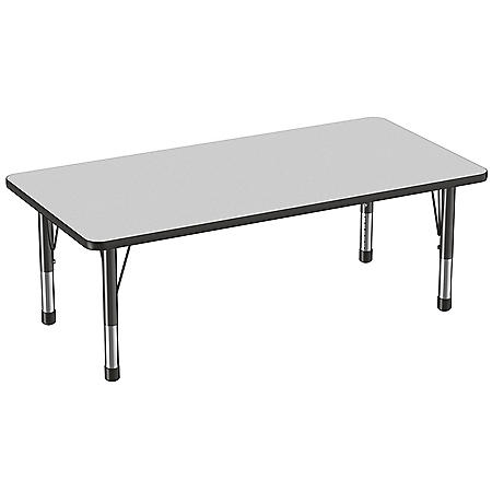 """30"""" x 60"""" Rectangle T-Mold Adjustable Activity Table with Chunky Leg (Assorted Colors)"""