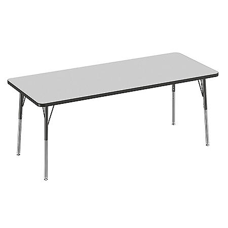 "30"" x 72"" Rectangle T-Mold Adjustable Activity Table with Standard Swivel (Assorted Colors)"