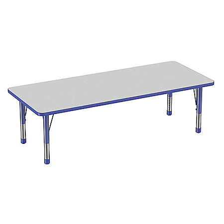 """30"""" x 72"""" Rectangle T-Mold Adjustable Activity Table with Chunky Leg (Assorted Colors)"""