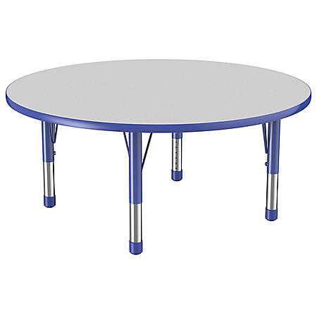 "48"" Round T-Mold Adjustable Activity Table with Chunky Legs (Assorted Colors)"