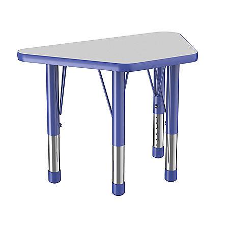 "18"" x 30"" Trapezoid T-Mold Adjustable Activity Table with Chunky Legs (Assorted Colors)"