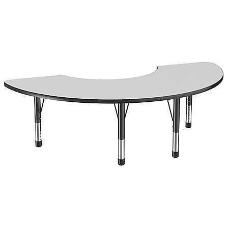 """36"""" x 72"""" Half Moon T-Mold Adjustable Activity Table with Chunky Leg (Assorted Colors)"""