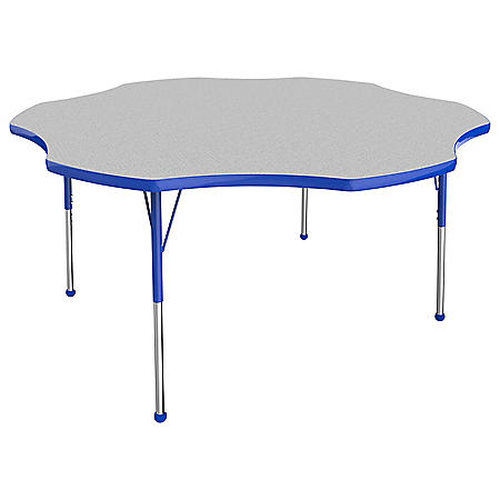 (OFFLINE) 60in Flower T-Mold Adjustable Activity Table with Standard Ball - Gray/Blue