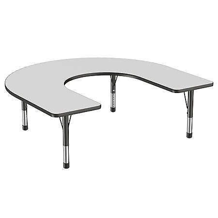 "60"" x 66"" Horseshoe T-Mold Adjustable Activity Table with Chunky Leg (Assorted Colors)"
