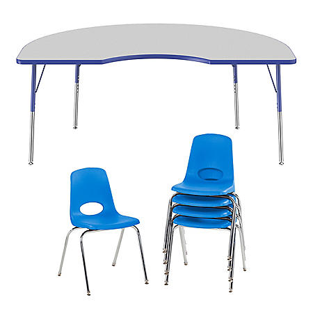 """48"""" x 72"""" Kidney T-Mold Adjustable Activity Table Standard Swivel with 5 Stack Chairs 18"""" Swivel Glide (Gray/Blue)"""