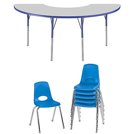 """36"""" x 72"""" Half Moon T-Mold Adjustable Activity Table Standard Swivel with 6 Stack Chairs 16"""" Swivel Glide (Gray/Blue)"""