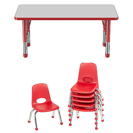 """24"""" x 48"""" Rectangle T-Mold Adjustable Activity Table with 6 Stack Chairs, 10"""" Ball Glide (Assorted Colors)"""