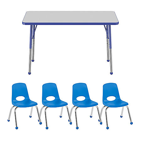 """24"""" x 48"""" Rectangle T-Mold Adjustable Activity Table Standard Ball with 4 Stack Chairs 12"""" Ball Glide - Gray/Blue"""