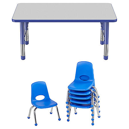 "30"" x 48"" Rectangle T-Mold Adjustable Activity Table Chunky Legs with 6 Stack Chairs, 10"" Ball Glide - Gray/Blue"