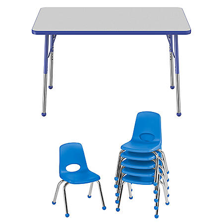 "30"" x 48"" Rectangle T-Mold Adjustable Activity Table Standard Ball with 6 Stack Chairs, 12"" Ball Glide - Gray/Blue"