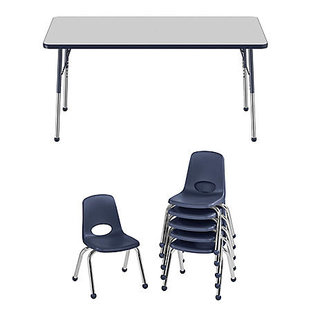 "30"" x 60"" Rectangle T-Mold Adjustable Activity Table Standard Ball with 6 Stack Chairs, 12"" Ball Glide (Assorted Colors)"