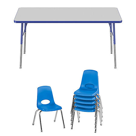 "30"" x 60"" Rectangle T-Mold Adjustable Activity Table Standard Swivel with 6 Stack Chairs,14"" Swivel Glide  (Assorted Colors)"