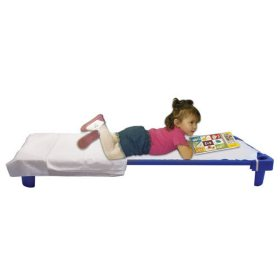 ECR4Kids Unassembled Stackable Standard Cots, Blue - 6 pack