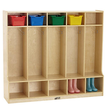 ECR4Kids 5-Section Coat Locker with Bench, Natural Birch