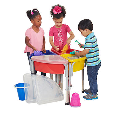 4 Station Round Sand & Water Table with Lids
