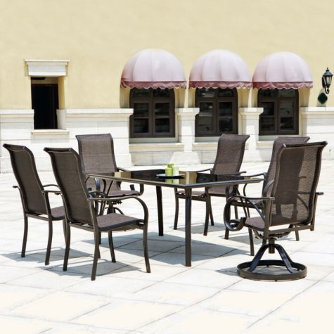 Mission Hills Coronado 7pc Dining Set - Swivel Armchairs and Tempered Glass Top Table
