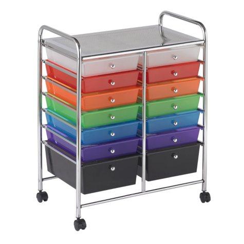 ECR4Kids 14 Drawer Mobile Organizer, Assorted Colors