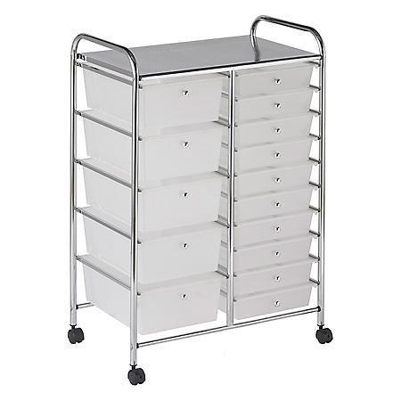 ECR4Kids 15 Drawer Mobile Organizer, White