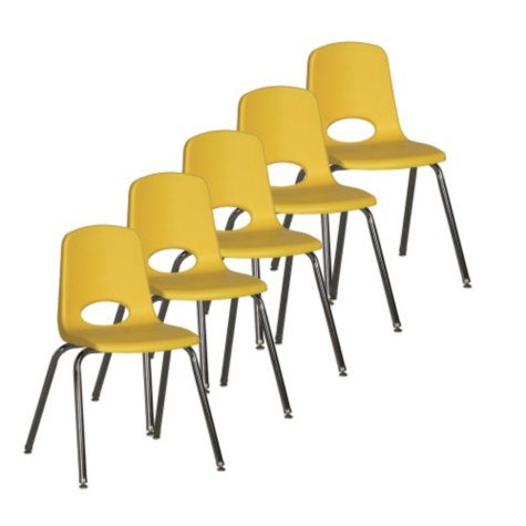 """ECR4Kids 18"""" Adult School Stack Chair, Select Color - 5 pack"""
