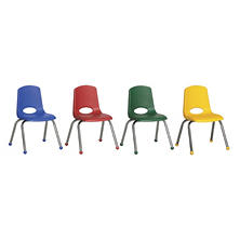 "ECR4Kids 12"" Stack Chair with Chrome Legs with Ball Glides - Assorted Colors- 6 pack"