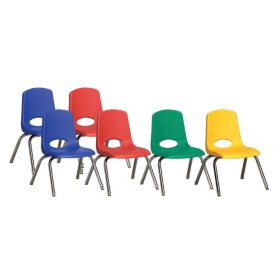 "ECR4Kids 12"" Stack Chair Chrome Legs with Swivel Glides - Assorted Colors - 6 pack"