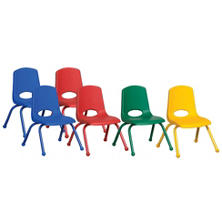 "ECR4Kids 10"" Stack Chair with Matching Legs & Ball Glides, Assorted Colors - 6 pack"