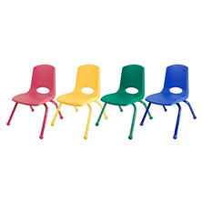 "ECR4Kids 12"" Stack Chair Matching Legs with Ball Glides, Assorted Colors - 6 pack"