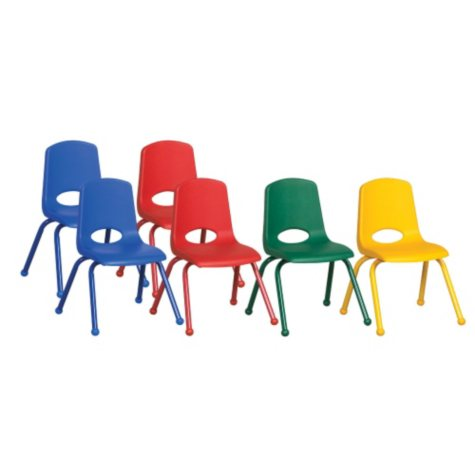 """ECR4Kids 14"""" Stack Chair Matching Legs with Ball Glides, Assorted Colors - 6 pack"""