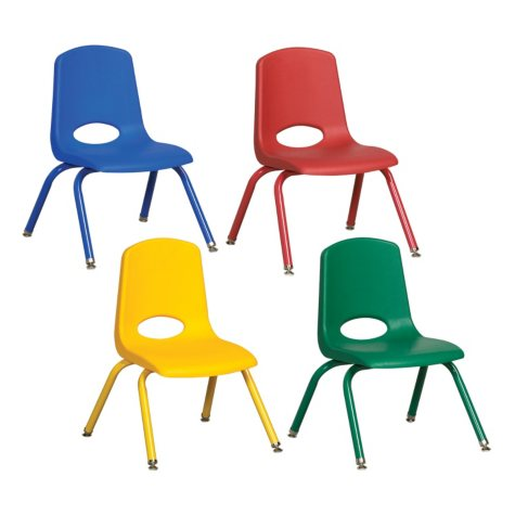 "ECR4Kids 14"" Stack Chair with Matching Legs and Swivel Glides, Assorted Colors - 6 pack"