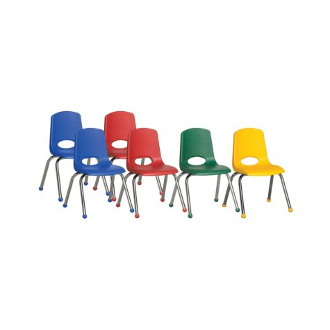 "ECR4Kids 16""  Ball Glide Stack Chair with Chrome Legs, Assorted Colors - 6 pack"