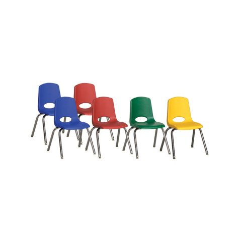 "ECR4Kids 16"" Swivel Glide Stack Chair with Chrome Legs, Assorted Colors - 6 pack"