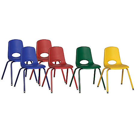 "ECR4Kids 16"" Swivel Glide Stack Chair with Matching Legs, Assorted Colors - 6 pack"