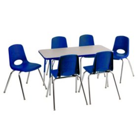 "ECR4Kids Combo-One 24"" Rectangular Table and Six 10"" Chairs, Grey Nebula/Blue"