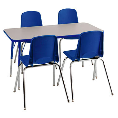 ECR4Kids Combo-One 4u0027 Rectangular Table and 4 Stacking Chairs Blue. Price includes shipping  sc 1 st  Samu0027s Club & ECR4Kids Combo-One 4u0027 Rectangular Table and 4 Stacking Chairs Blue ...