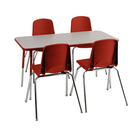 "ECR4Kids Combo-One 24"" Rectangular Table and Four 12"" Chairs, Select Color"