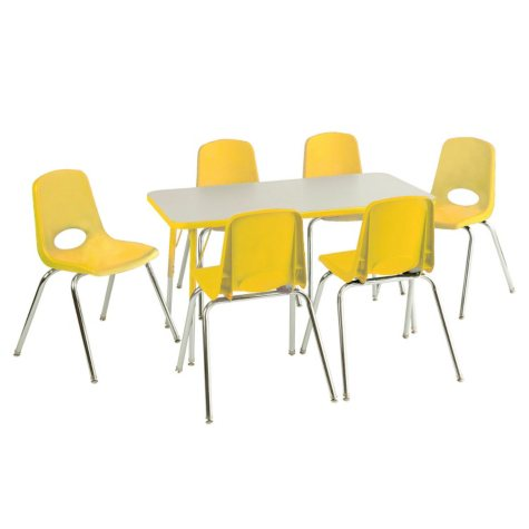 """ECR4Kids Combo-One 24"""" Rectangular Table and Six 10"""" Chairs, Select Color"""