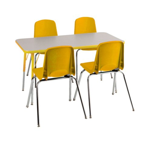 "ECR4Kids Combo-One 24"" Rectangular Table and Four 18"" chairs, Select Color"