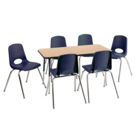 """ECR4Kids Combo-One 24"""" Rectangular Table and Six 10"""" Chairs, Oak/Navy"""