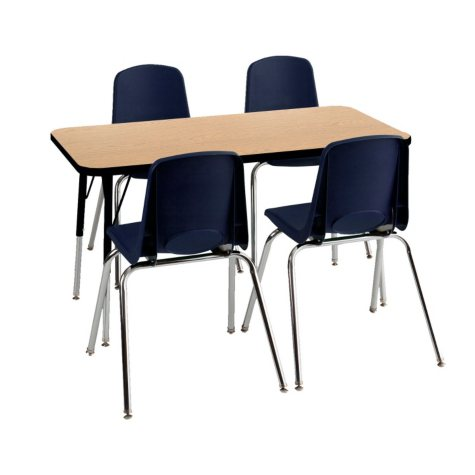 "ECR4Kids Combo-One 24"" Rectangular Table and Four 12"" Chairs, Oak/Navy"