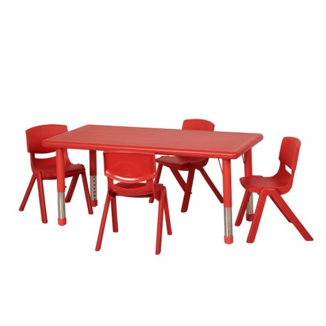 "ECR4Kids 48"" Rectangular Resin Table with Matching 16"" Chairs, Select Color"