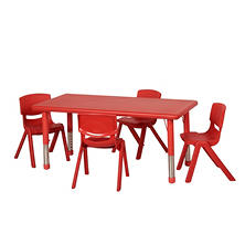 "ECR4Kids 48"" Rectangular Resin Table with Matching 12"" Chairs, Select Color"
