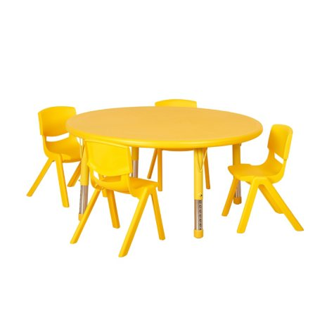 "ECR4Kids 45"" Round Resin Table with (4) Matching 12"" Chairs, Select Color"