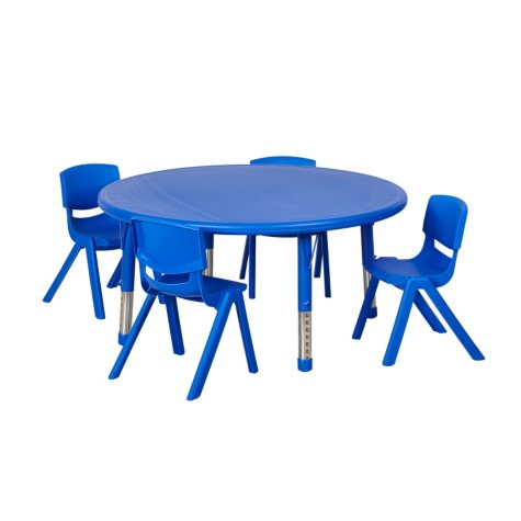 """ECR4Kids 45"""" Round Resin Table with (4) Matching 14"""" Chairs, Select Color"""