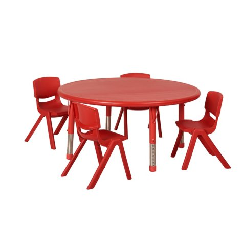 "ECR4Kids 45"" Round Resin Table with (4) Matching 14"" Chairs, Select Color"