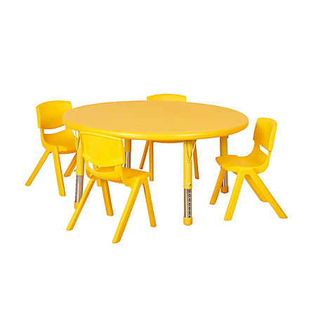 "ECR4Kids 45"" Round Resin Table with Matching 16"" Chairs, Select Color"
