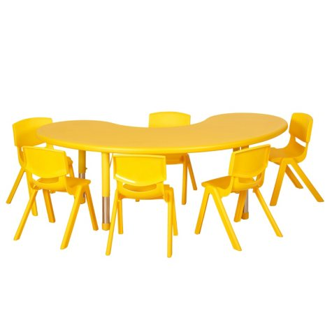 "ECR4Kids 65"" Kidney Resin Adjustable Activity Table with (4) Matching 16"" Chairs, Select Color"